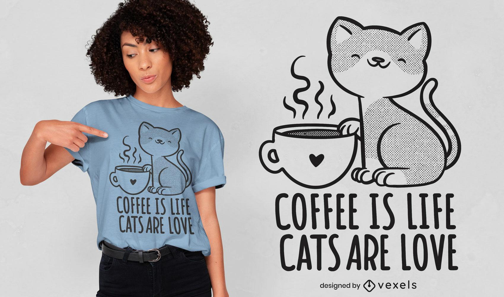 Gato con diseño de camiseta de taza de café.