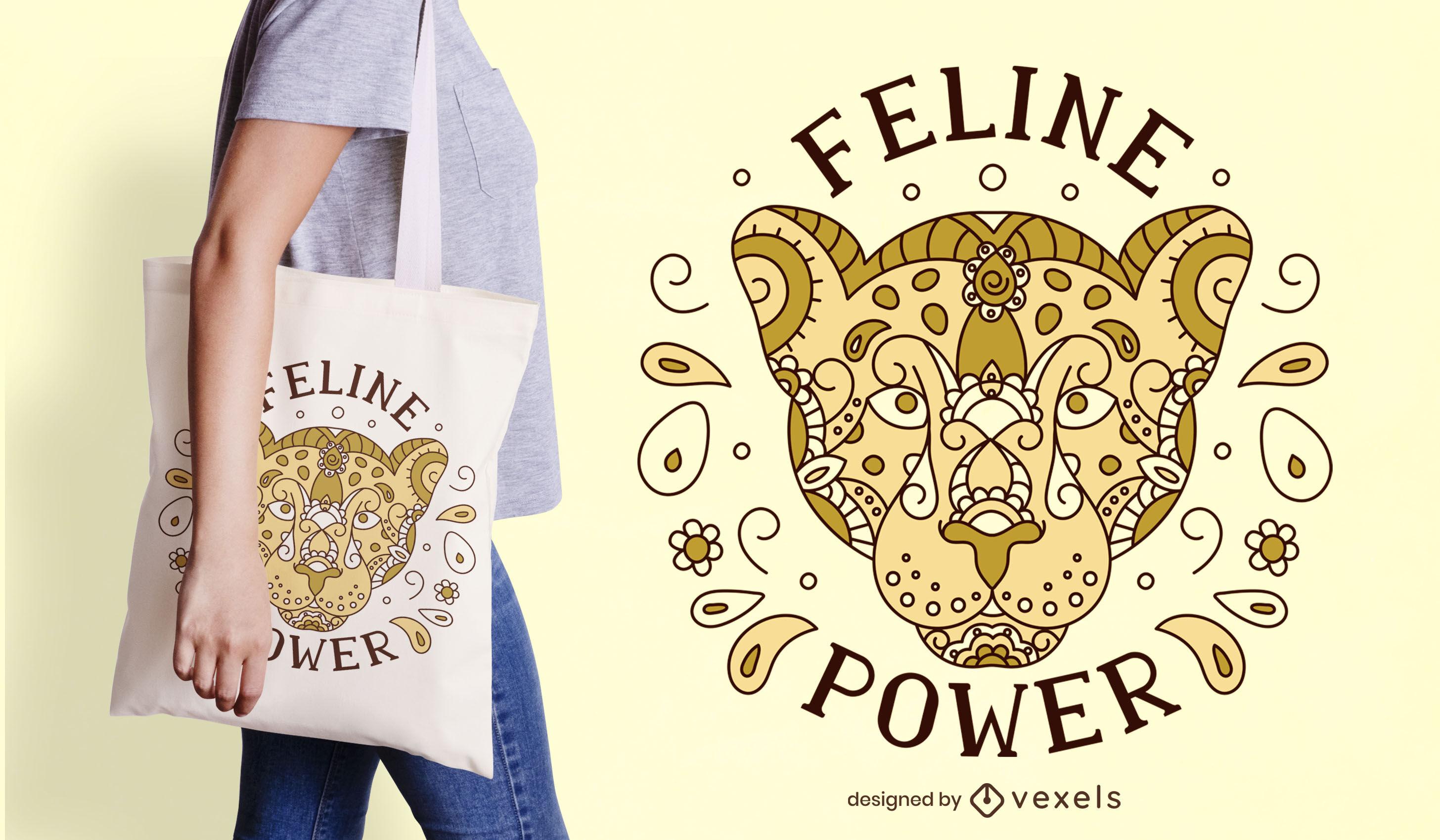 Design de bolsa com mandala animal tigre