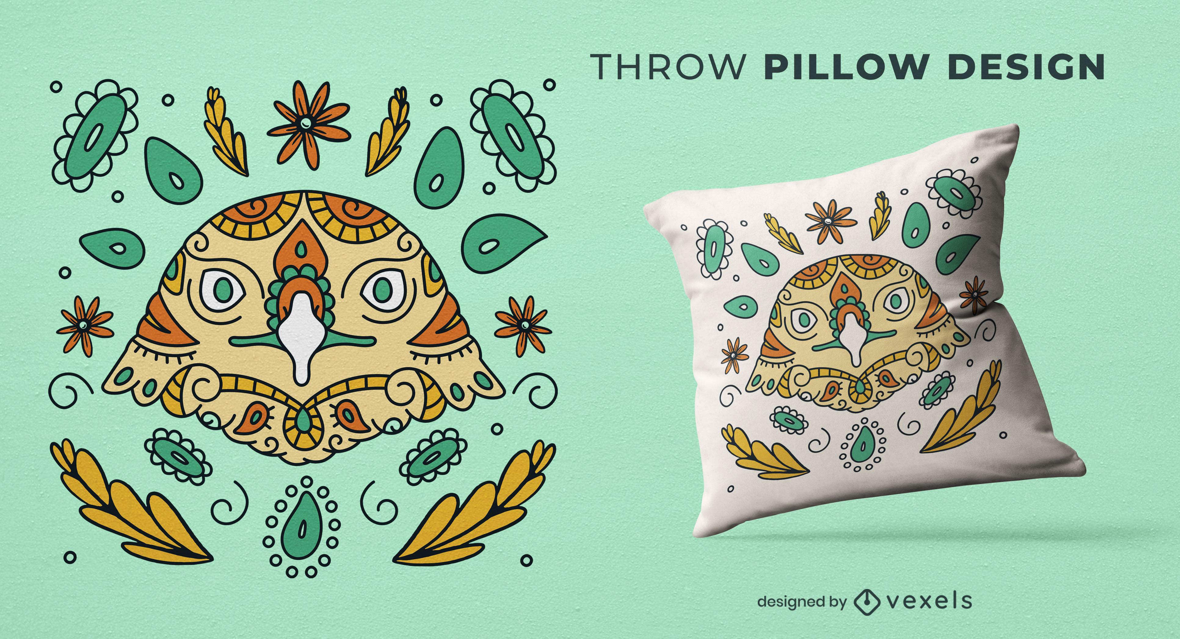 Eagle bird animal mandala throw pillow design
