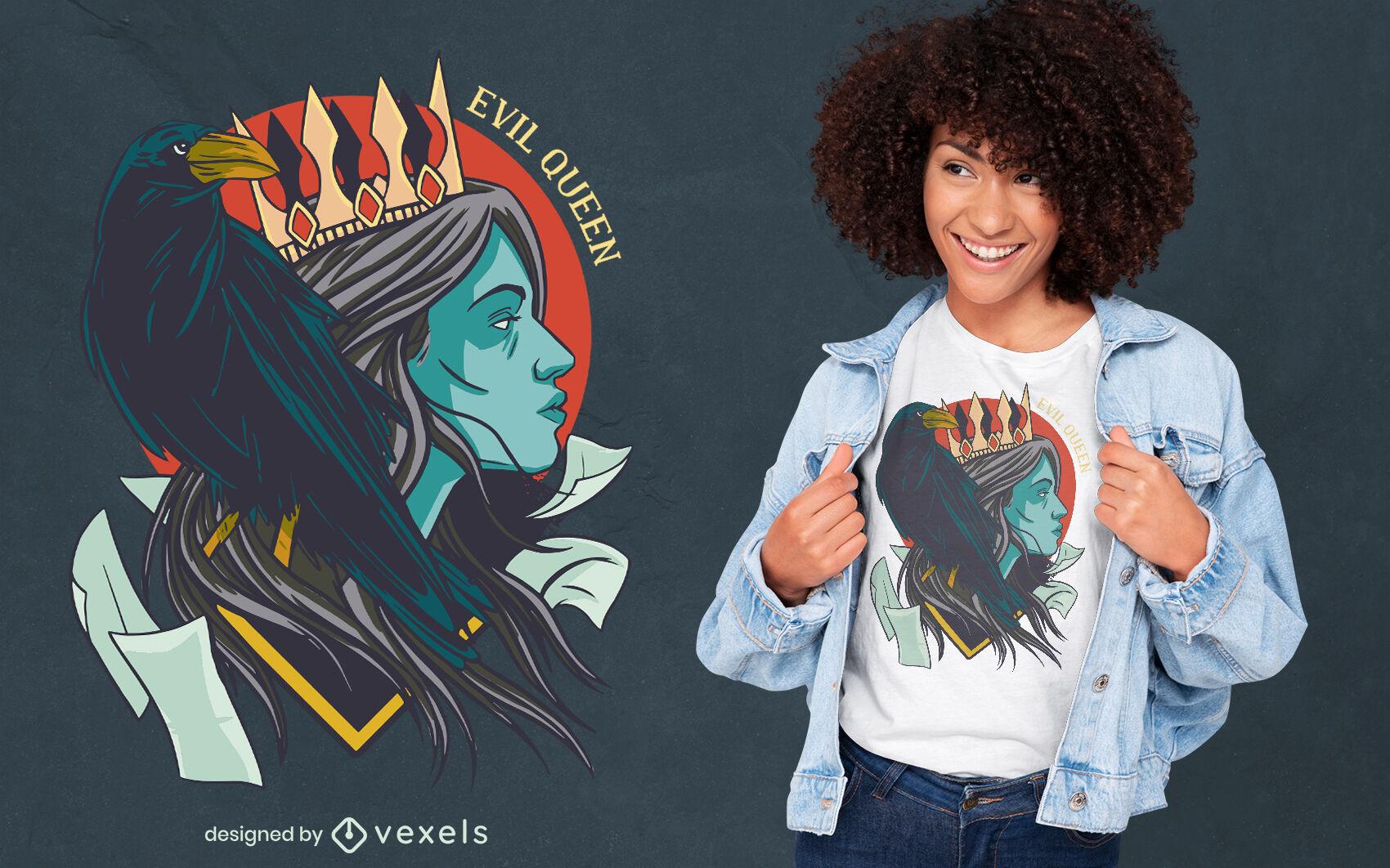 Evil queen with raven illustration t-shirt design