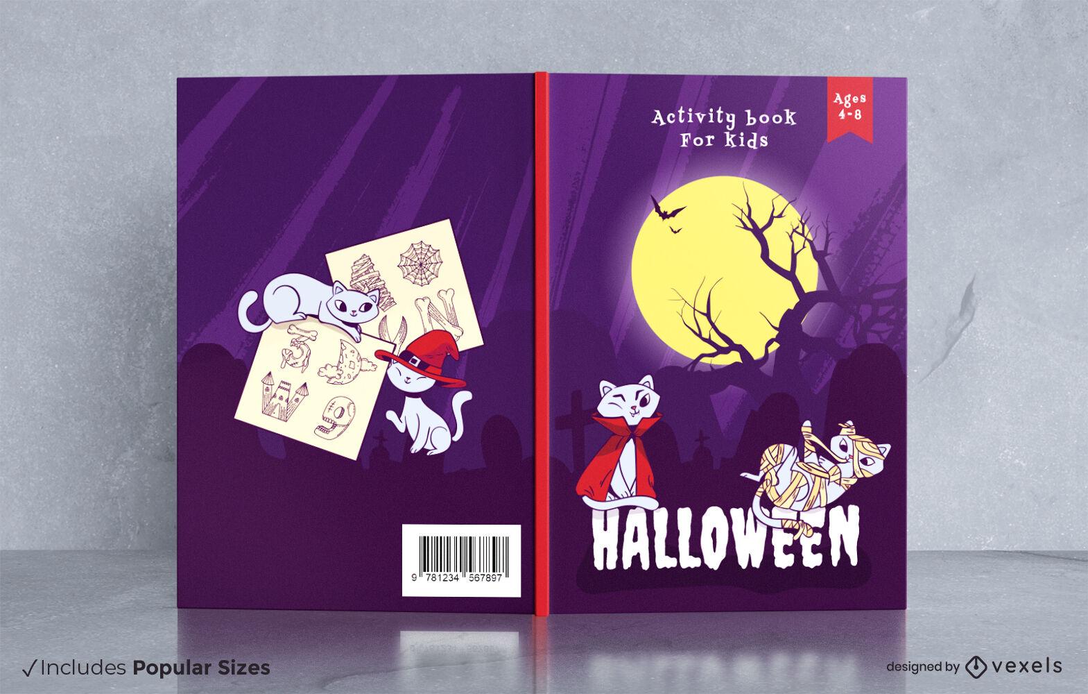 Design de capa de livro de Halloween com gatos fofos