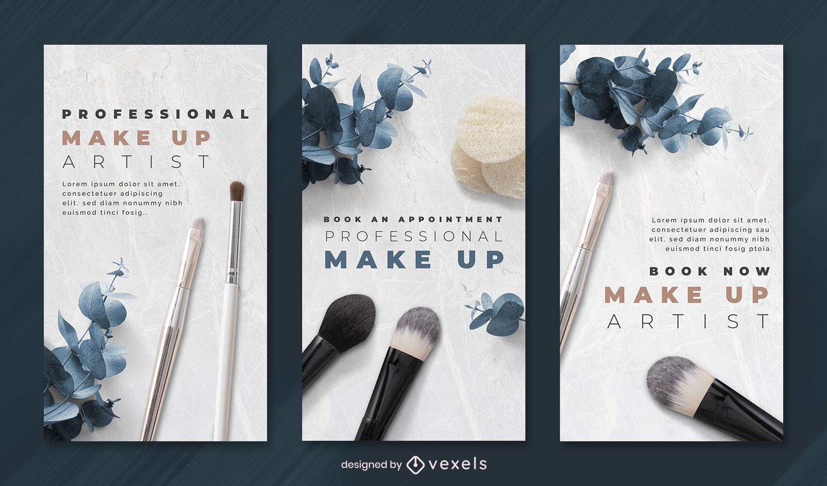 Plantilla de historia de instagram de elementos fotográficos de maquillaje