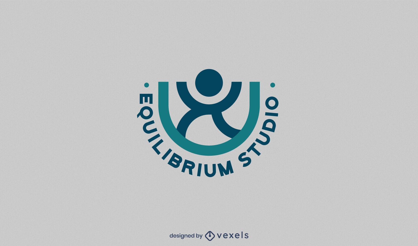 Yoga meditation pose logo template