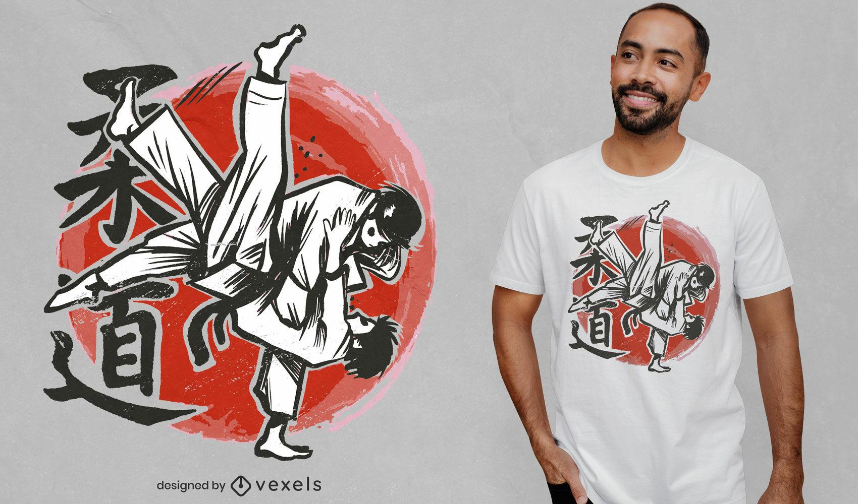 Diseño de camiseta de luchadores dibujados a mano de judo.