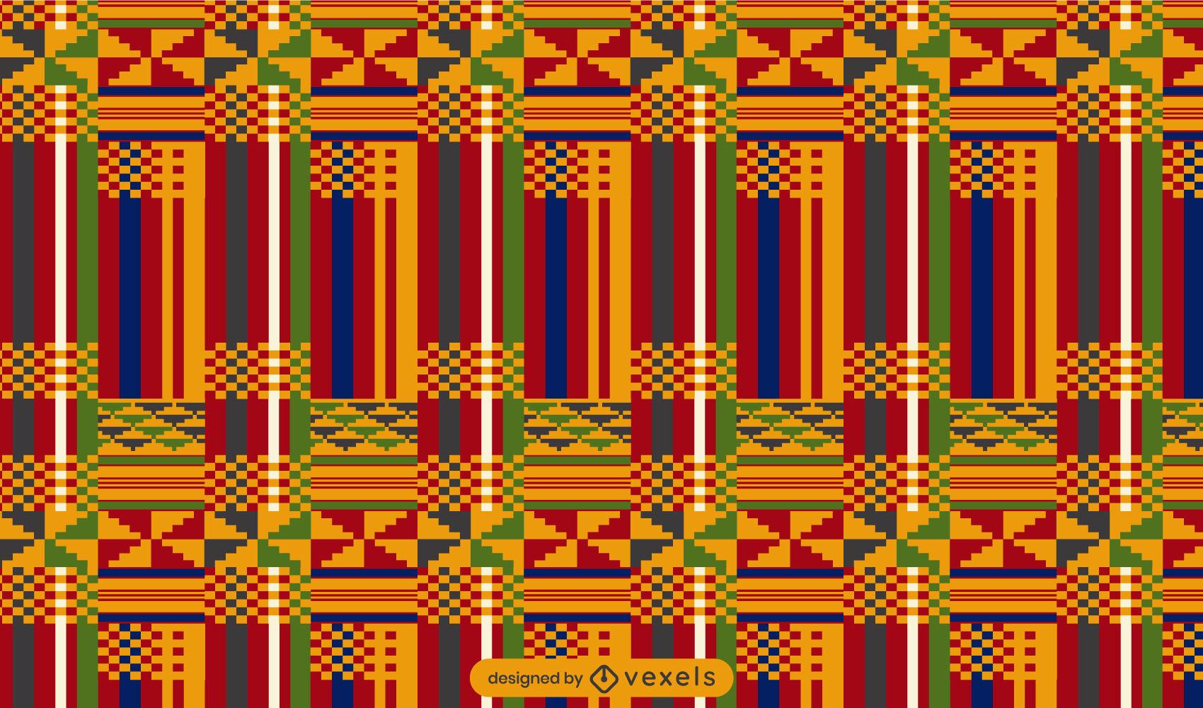 Diseño de patrón de kente de tela colorida