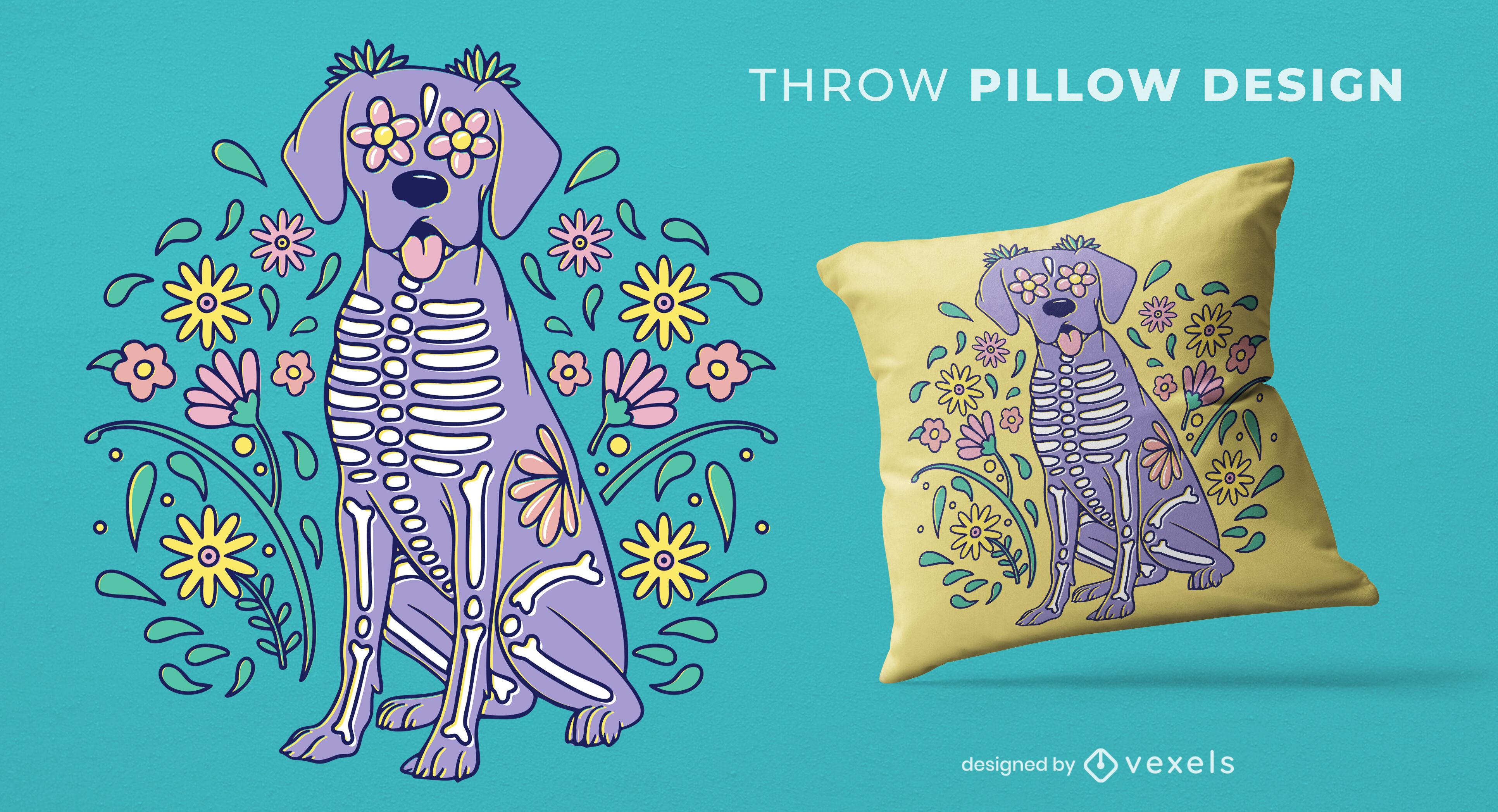 Skeleton dog animal throw pillow design