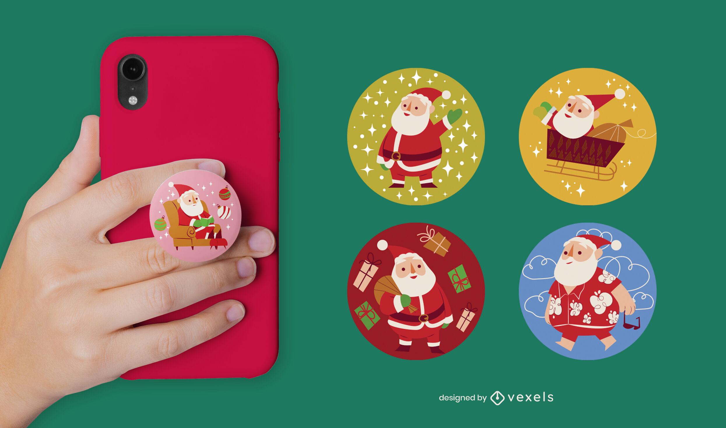 Santa claus christmas pop socket set