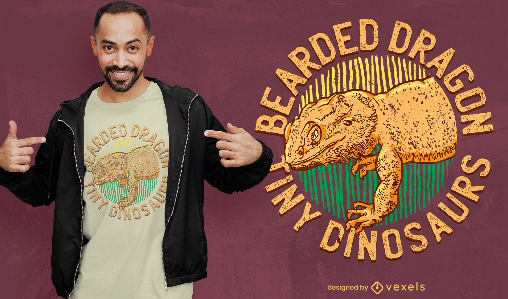 Diseño de camiseta de animal dragón barbudo realista.