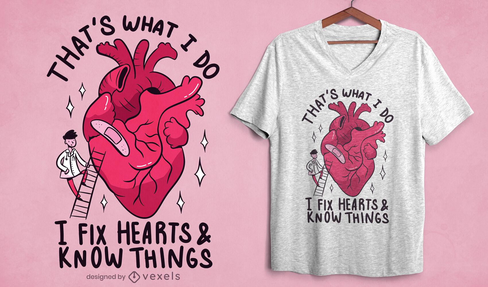 Diseño de camiseta de dibujos animados de corazón de fijación de hombre