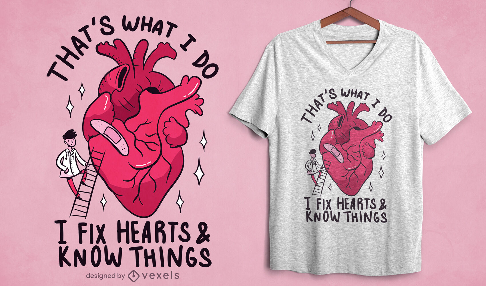 Homem consertando desenho de camiseta de desenho animado de coração
