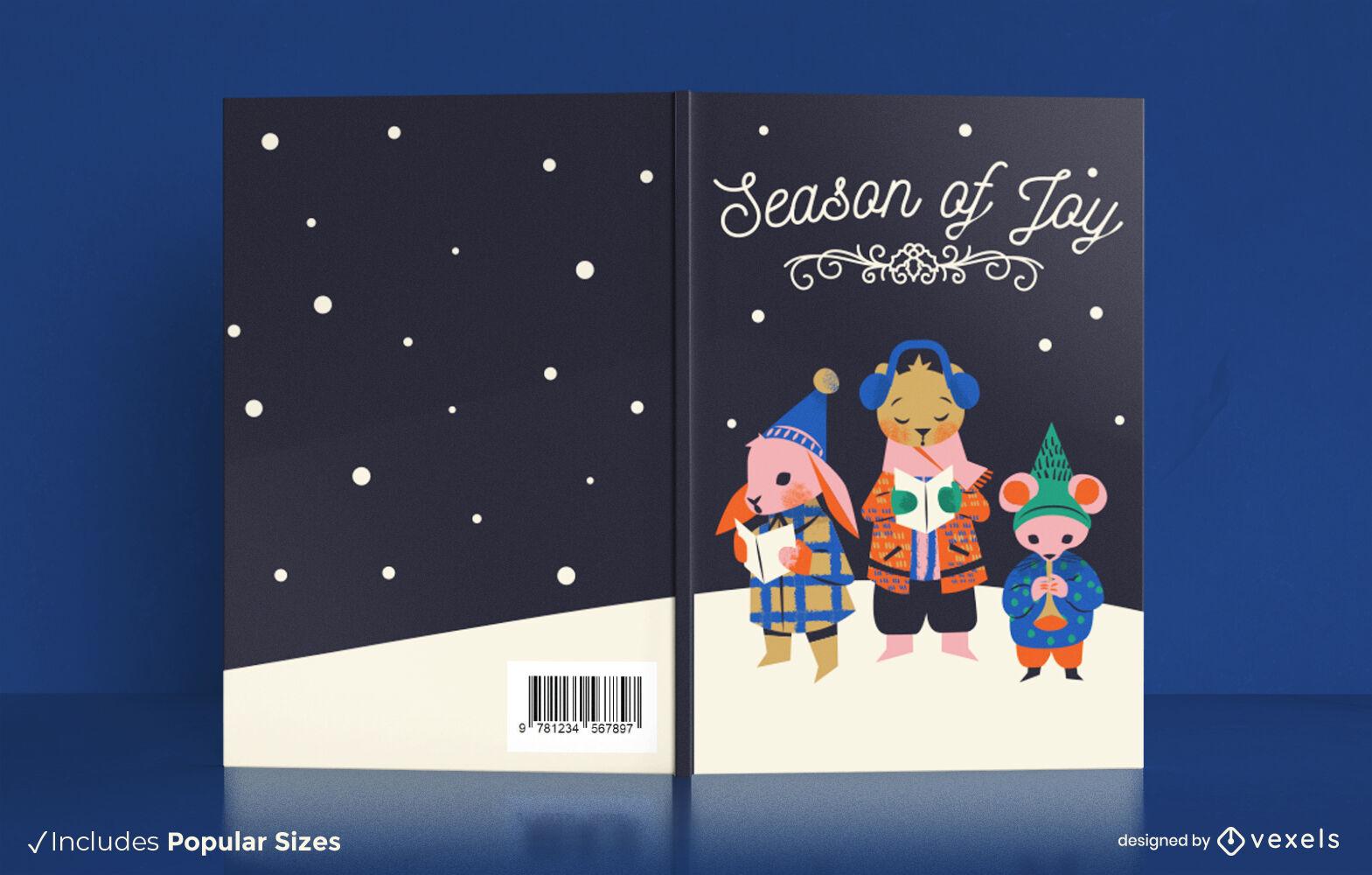 Design de capa de livro de cantores de canções de natal de animais