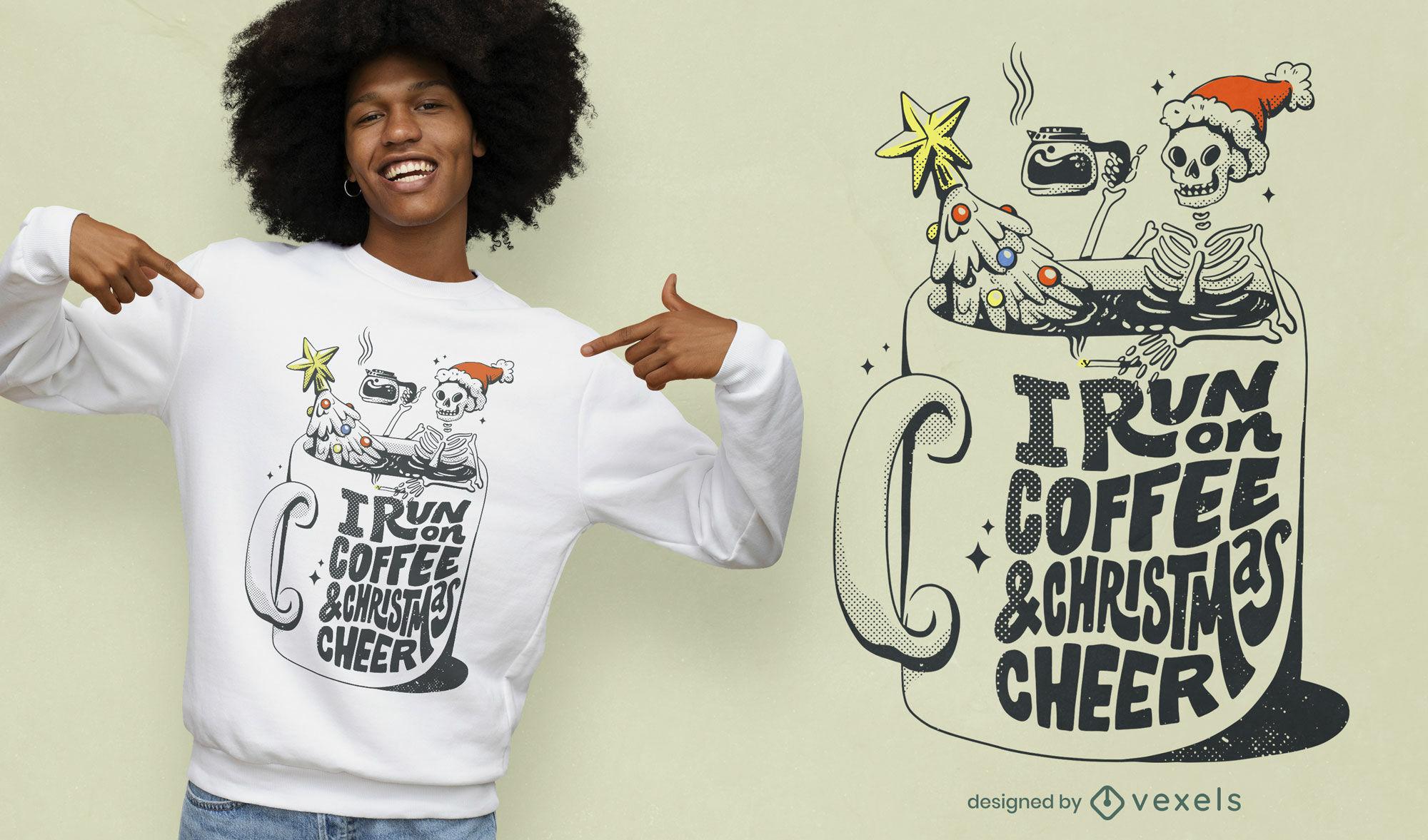 Diseño de camiseta de esqueleto de navidad de café