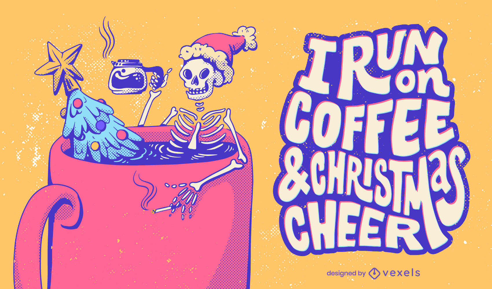 Skelett-Anti-Weihnachts-Schriftzug-Illustration