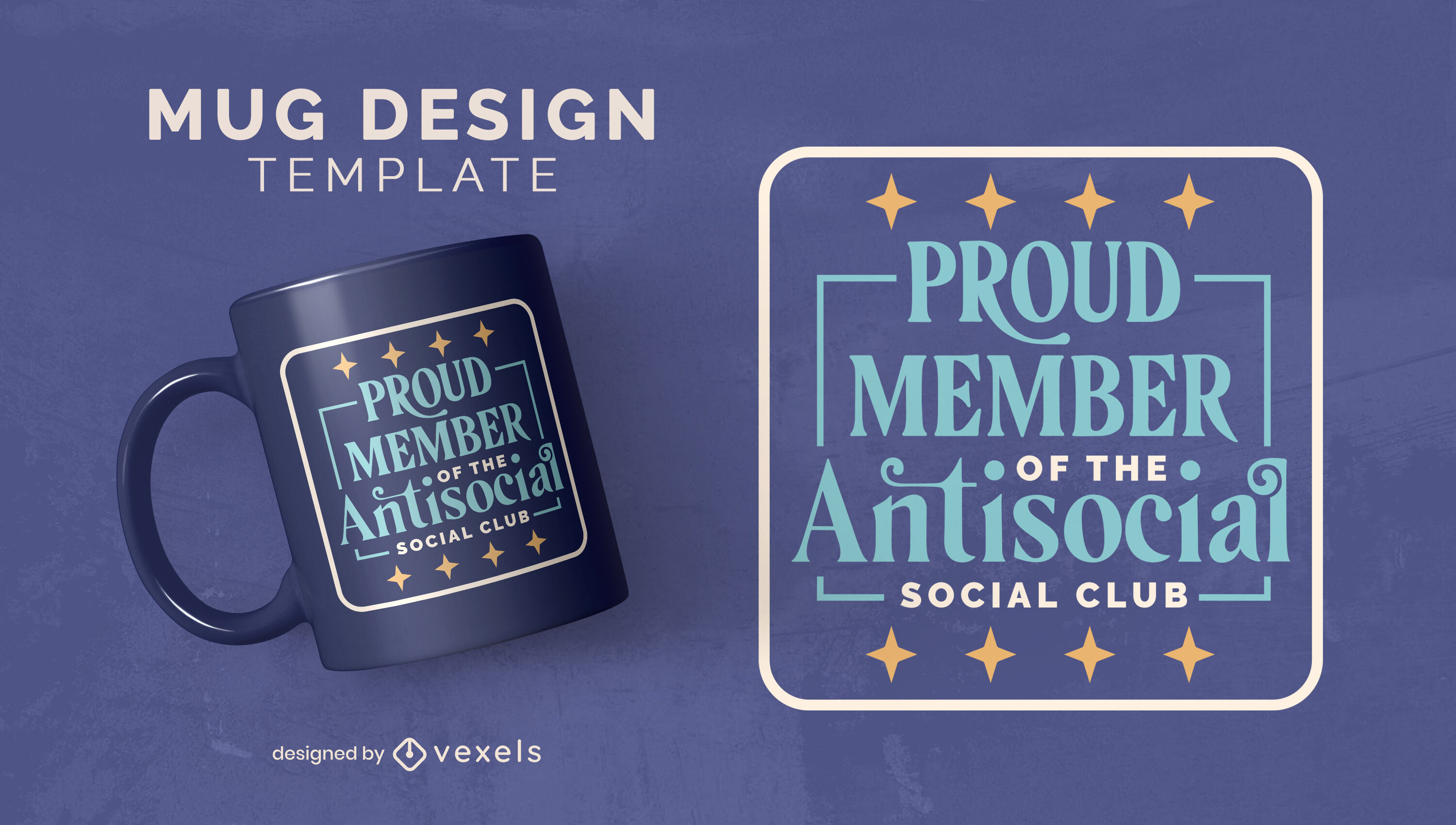 Antisocial club funny quote mug template