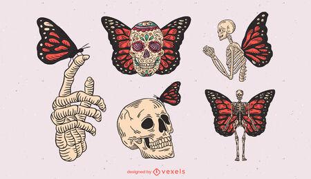 Conjunto de trazos de color de esqueletos y mariposas