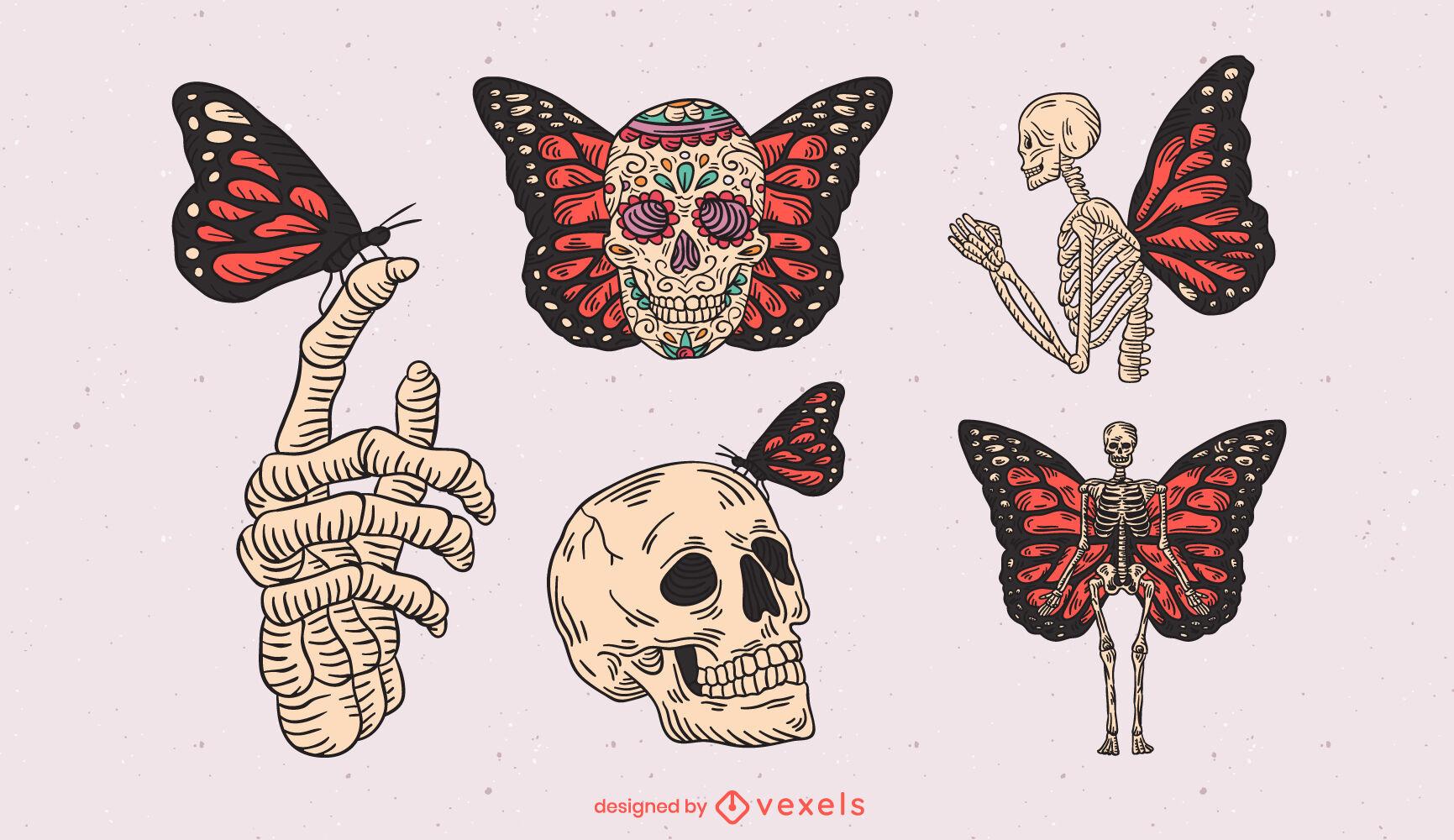 Conjunto de traços coloridos de esqueletos e borboletas