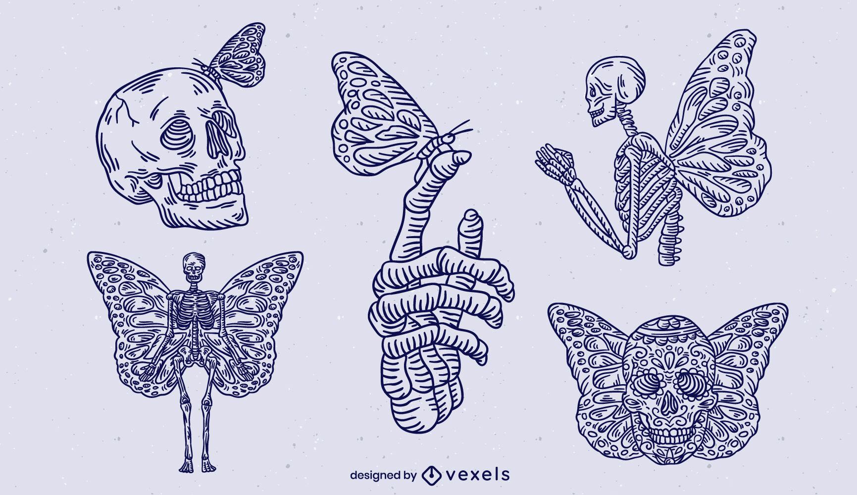 Conjunto de trazos de esqueletos y mariposas