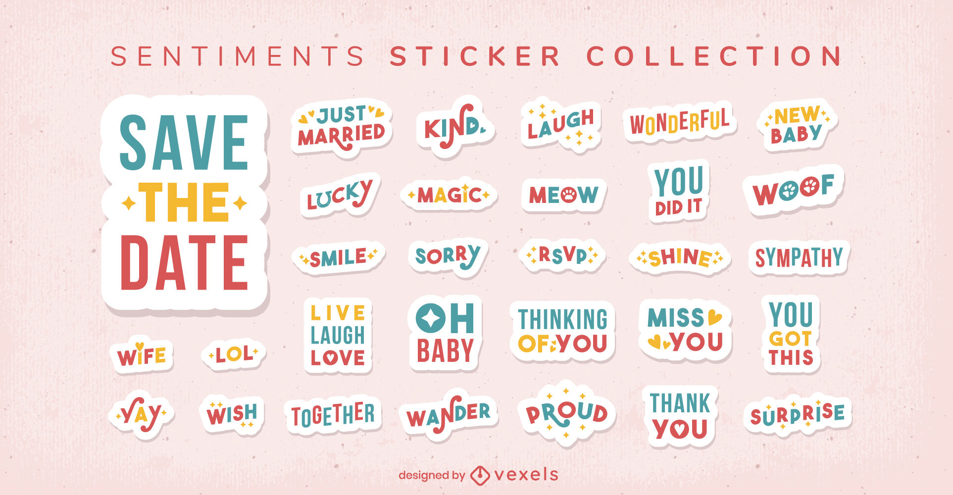 Adorable sticker quotes collection