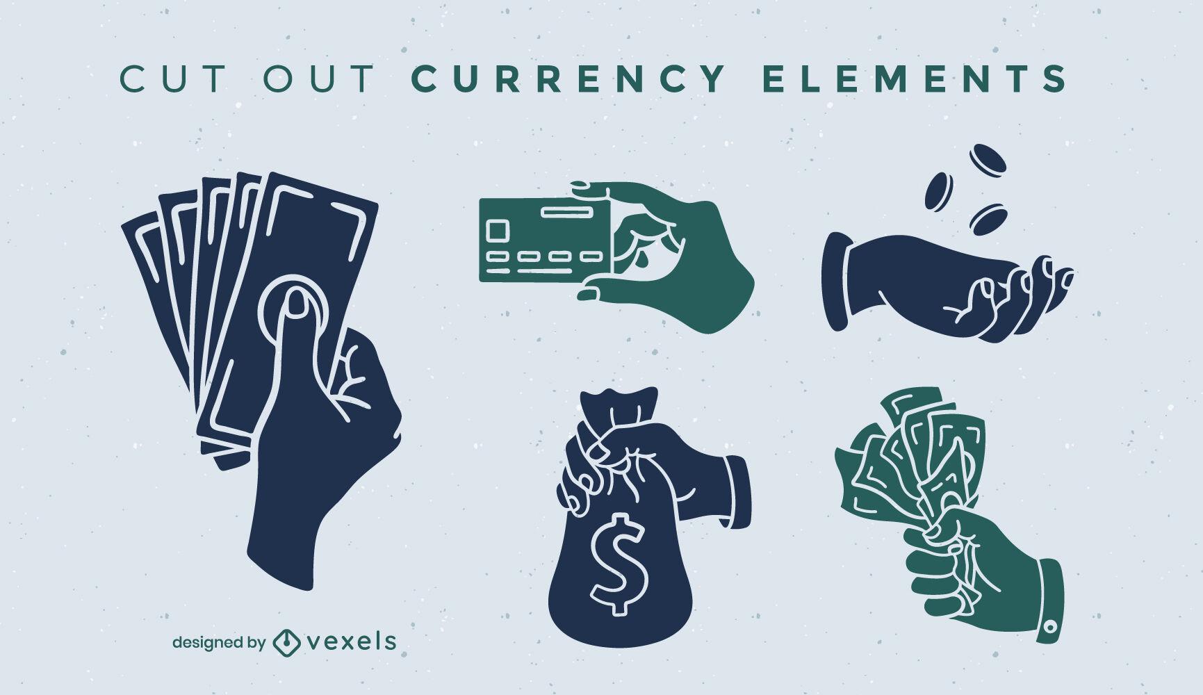 Conjunto de recorte de moeda de moedas e notas