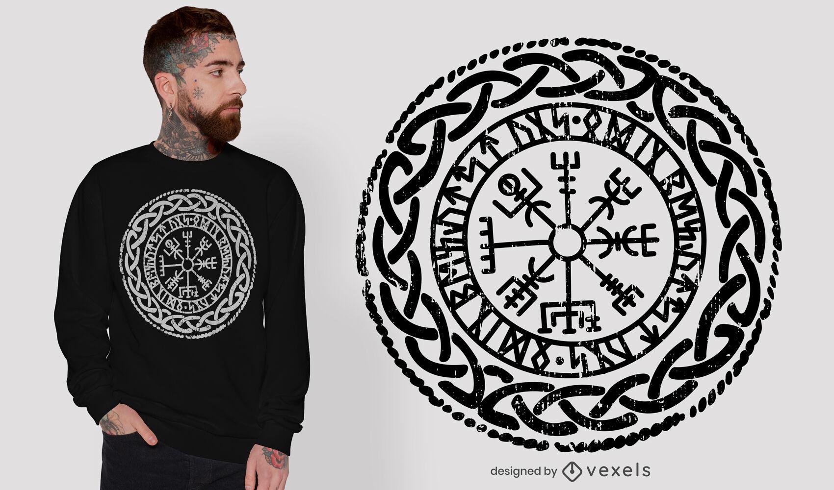 Diseño de camiseta de brújula y runas vikingas.