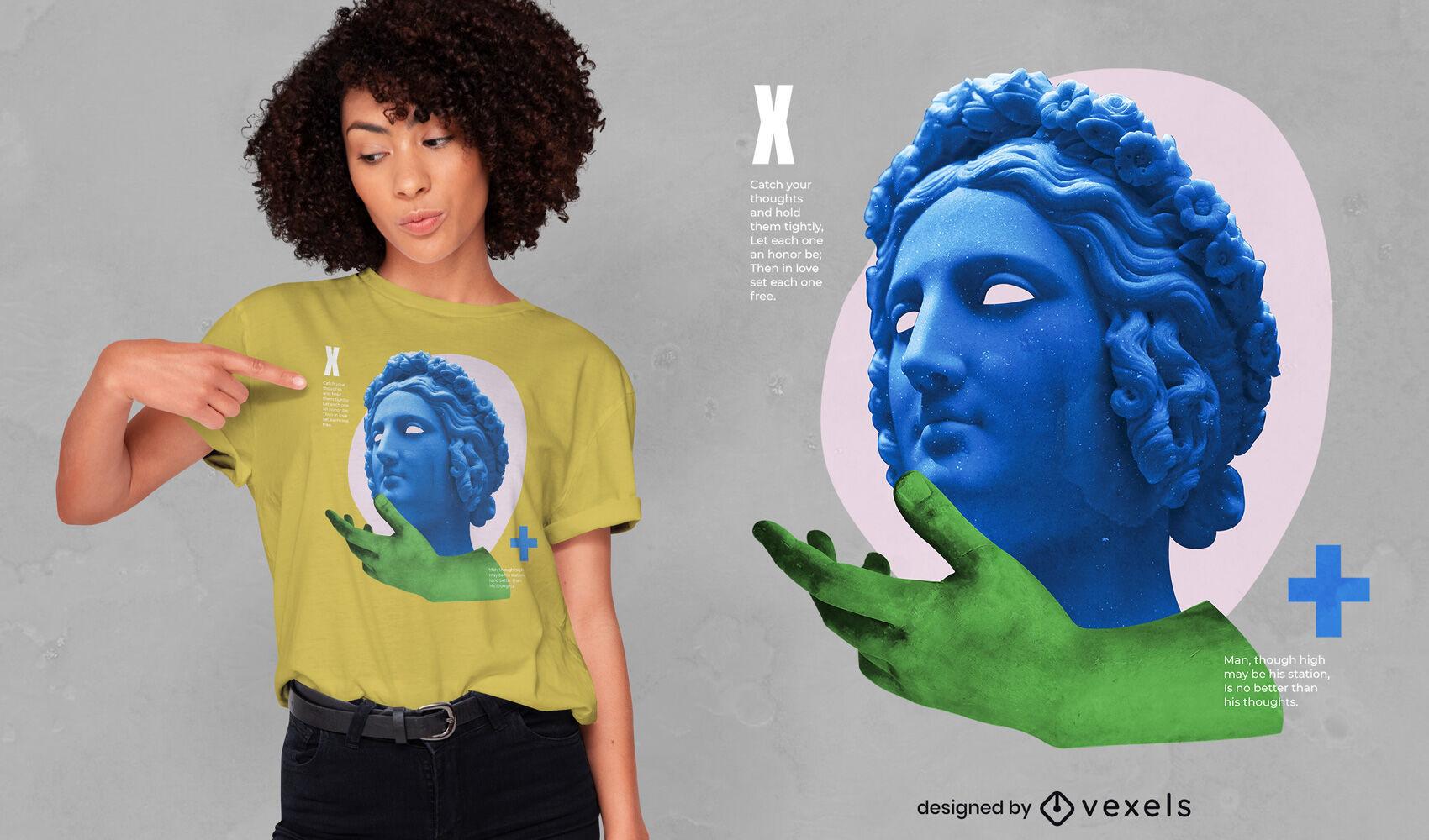 Estatua psicod?lica y dise?o de camiseta psd de mano.