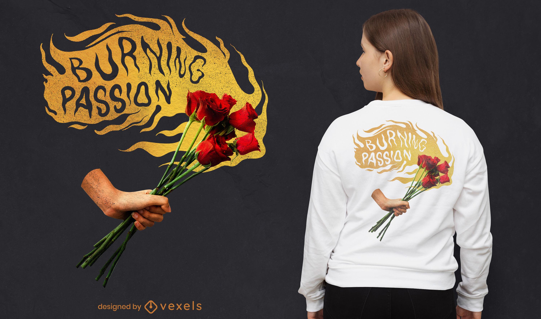 Diseño de camiseta psd de flores ardientes de pasión