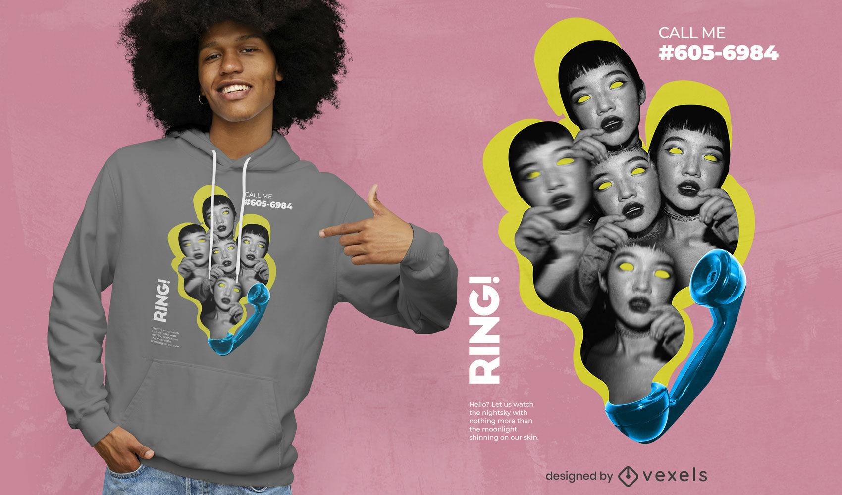 Diseño de camiseta psd de collage de caras y teléfono.