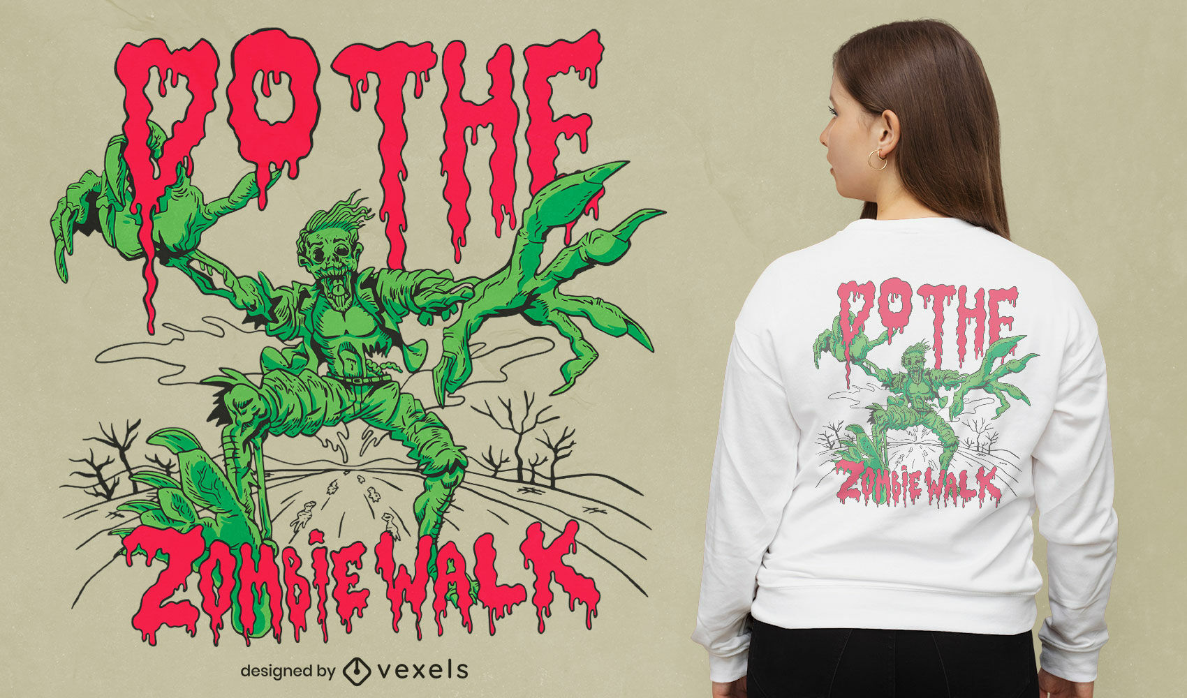 Zombie monster walking t-shirt design