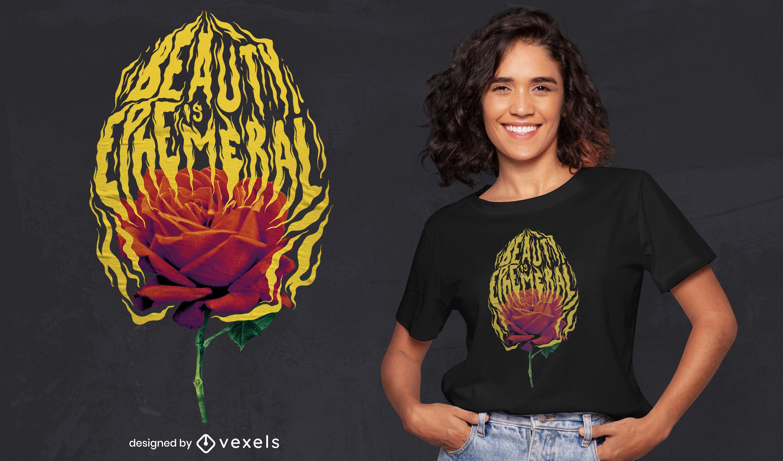 Rose on fire psd t-shirt design