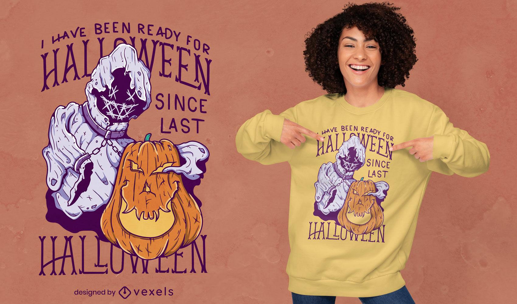 Desenho de camiseta de halloween fantasma e abóbora