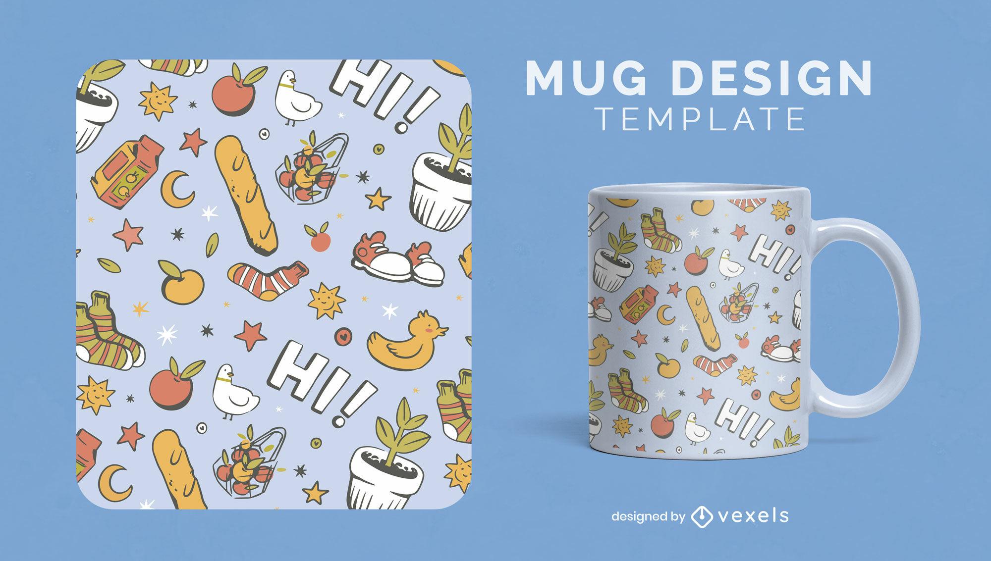Home elements doodle mug template