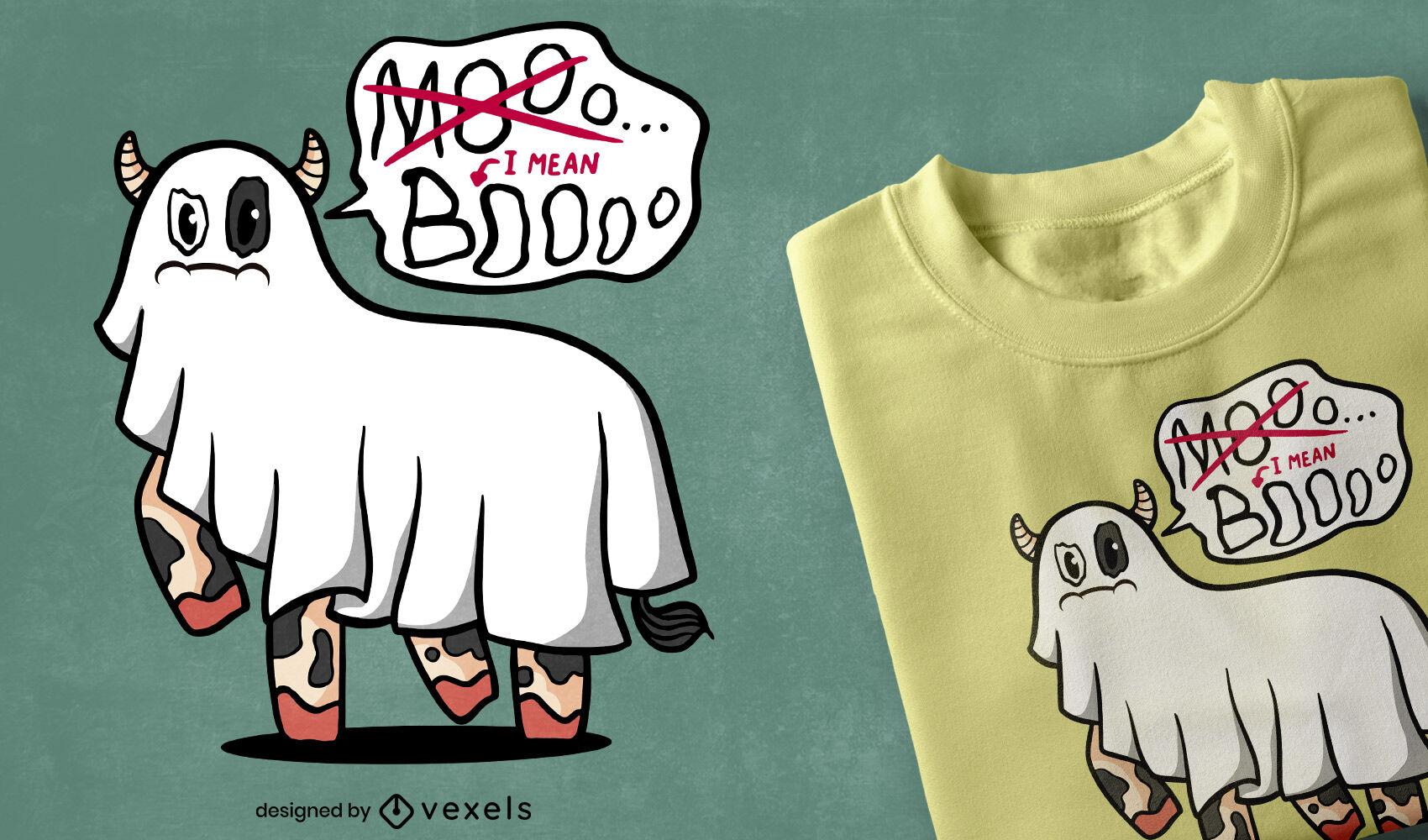 Design de camiseta engraçada do dia das bruxas da vaca fantasma