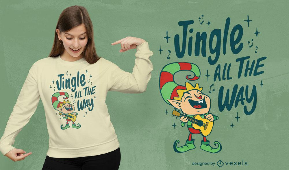 Divertido diseño de camiseta de duende navideño.