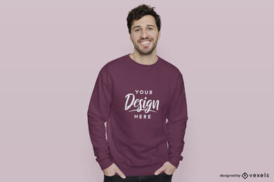 Dark purple sweatshirt man in pink background mockup