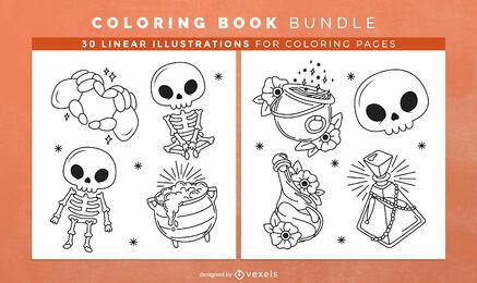 Diseño de páginas de libro para colorear de esqueleto