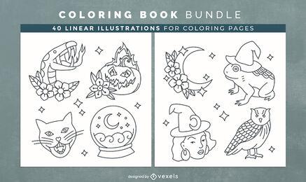 Elementos de bruxa para colorir livro de design