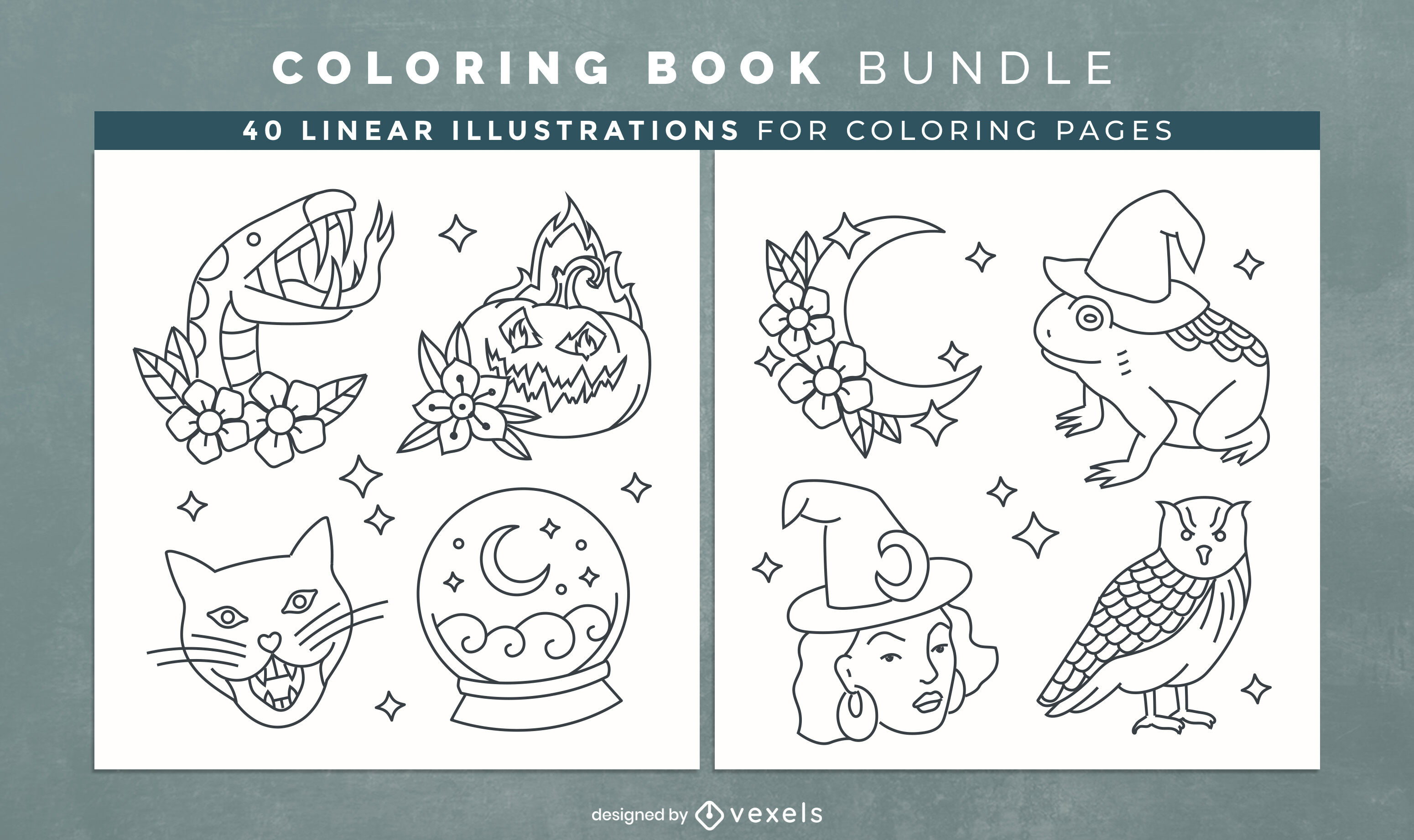 Witch elements coloring book interior design
