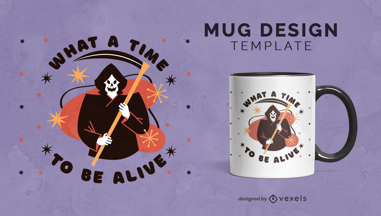 Grim reaper halloween mug template