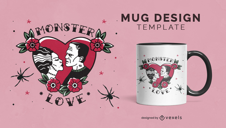 Design de caneca de amor de monstro de Frankenstein