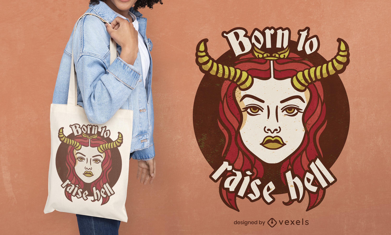 Chica demonio con cuernos bolsa de asas deisgn