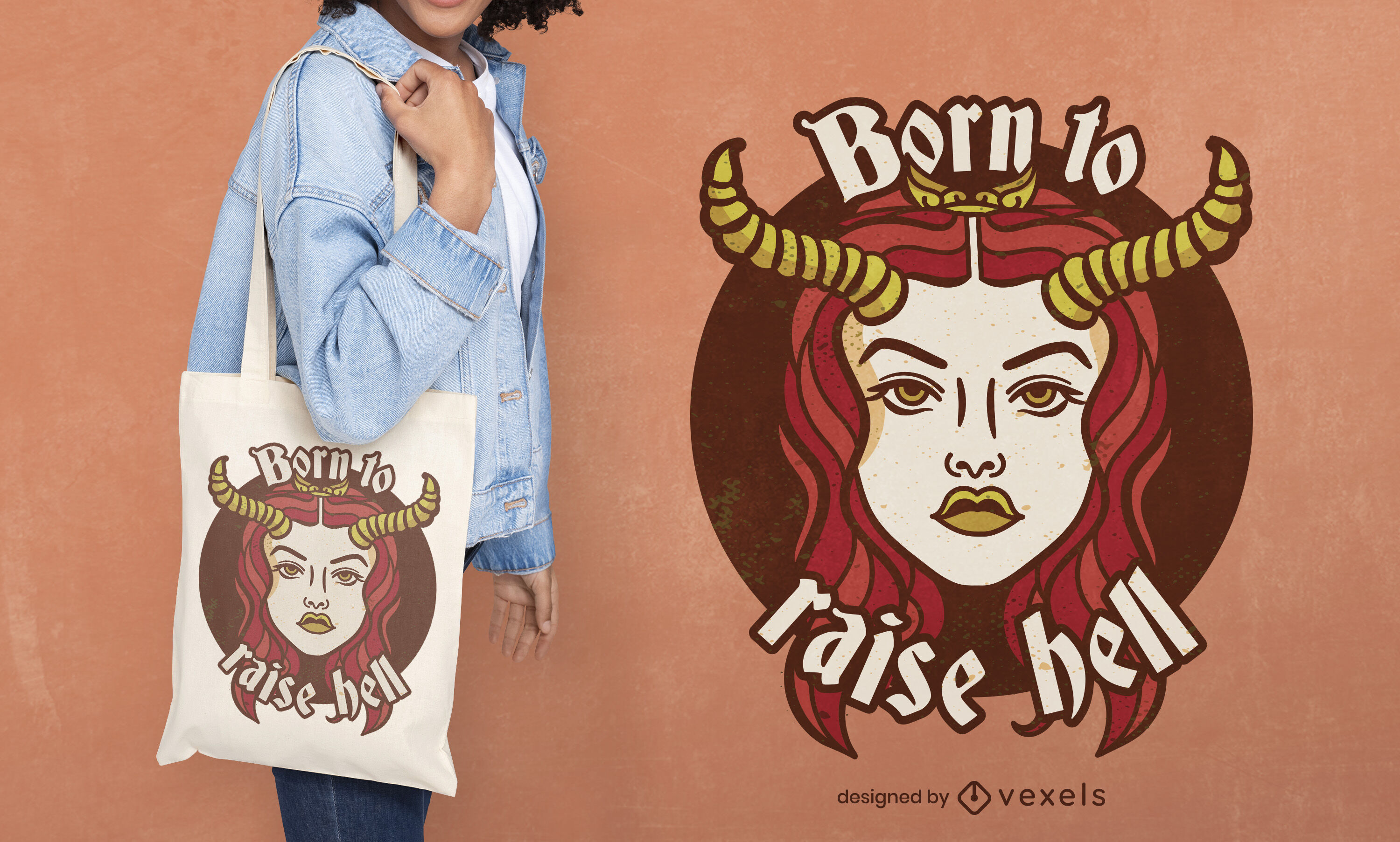 Demon girl with horns tote bag deisgn
