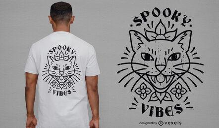 Diseño de camiseta de gato espeluznante fresco