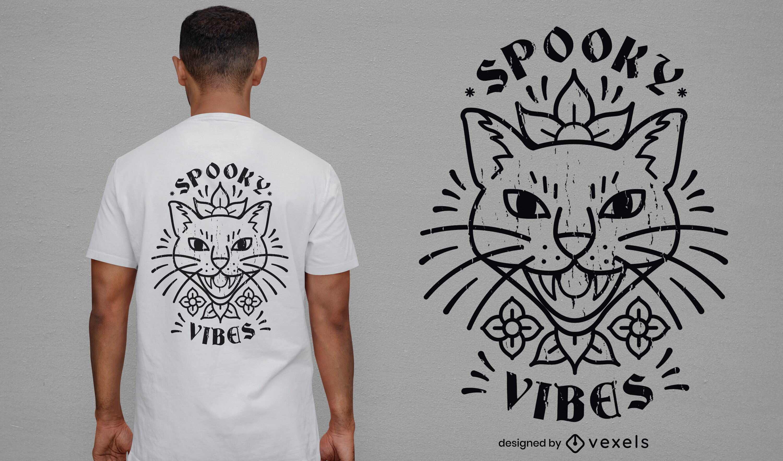Cooles gruseliges Katzen-T-Shirt-Design