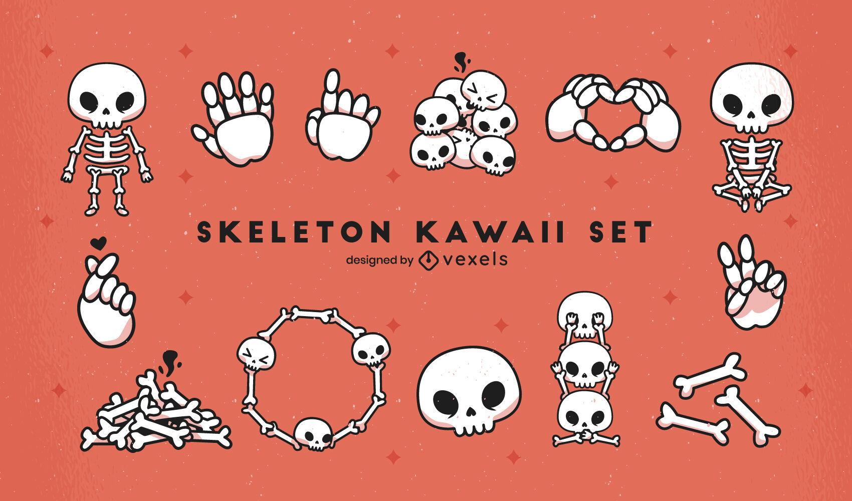 Conjunto de caracteres kawaii esqueleto e crânios