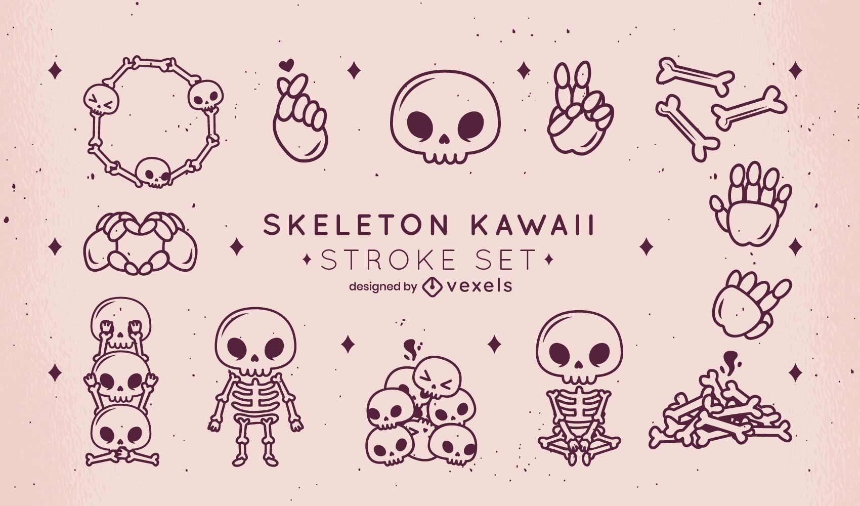 Conjunto de trazos kawaii de esqueleto y calaveras