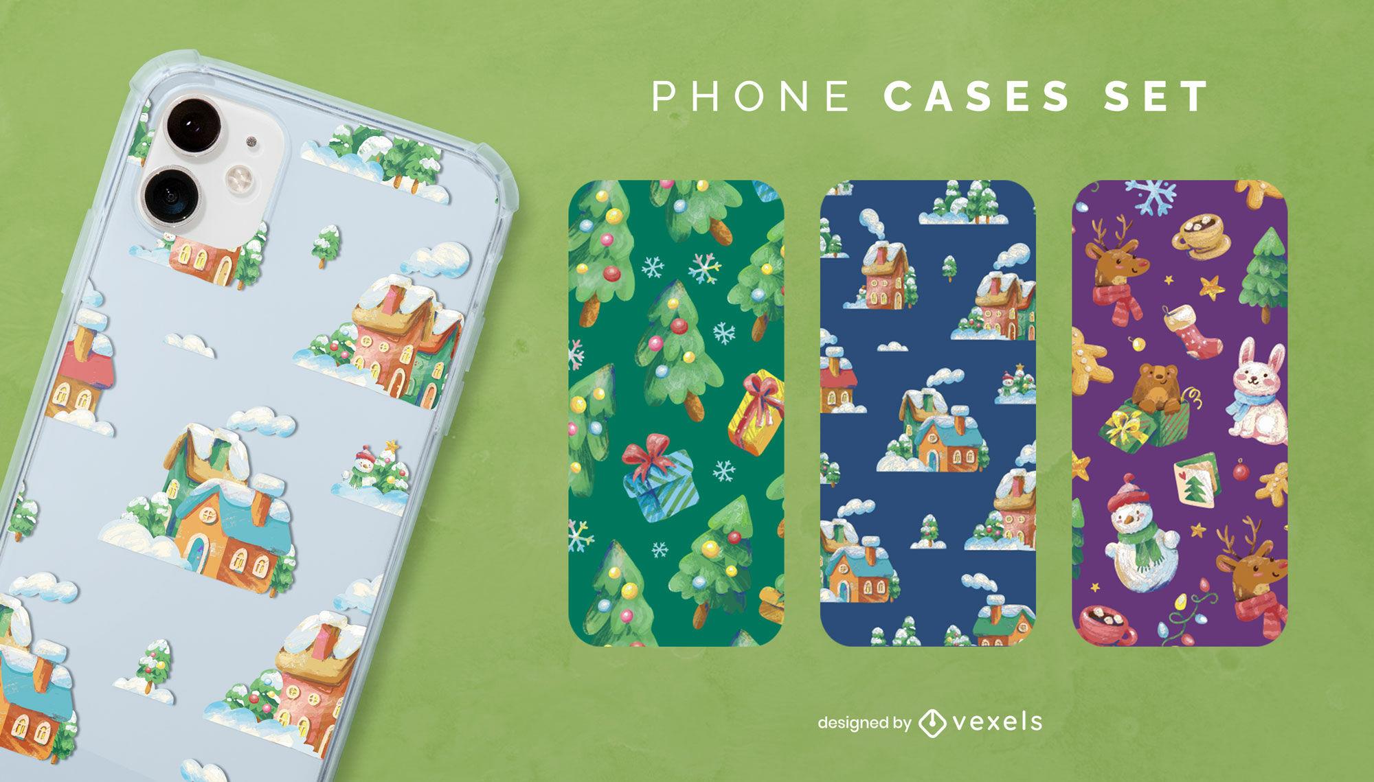 Conjunto de capa de telefone Natal feriado inverno