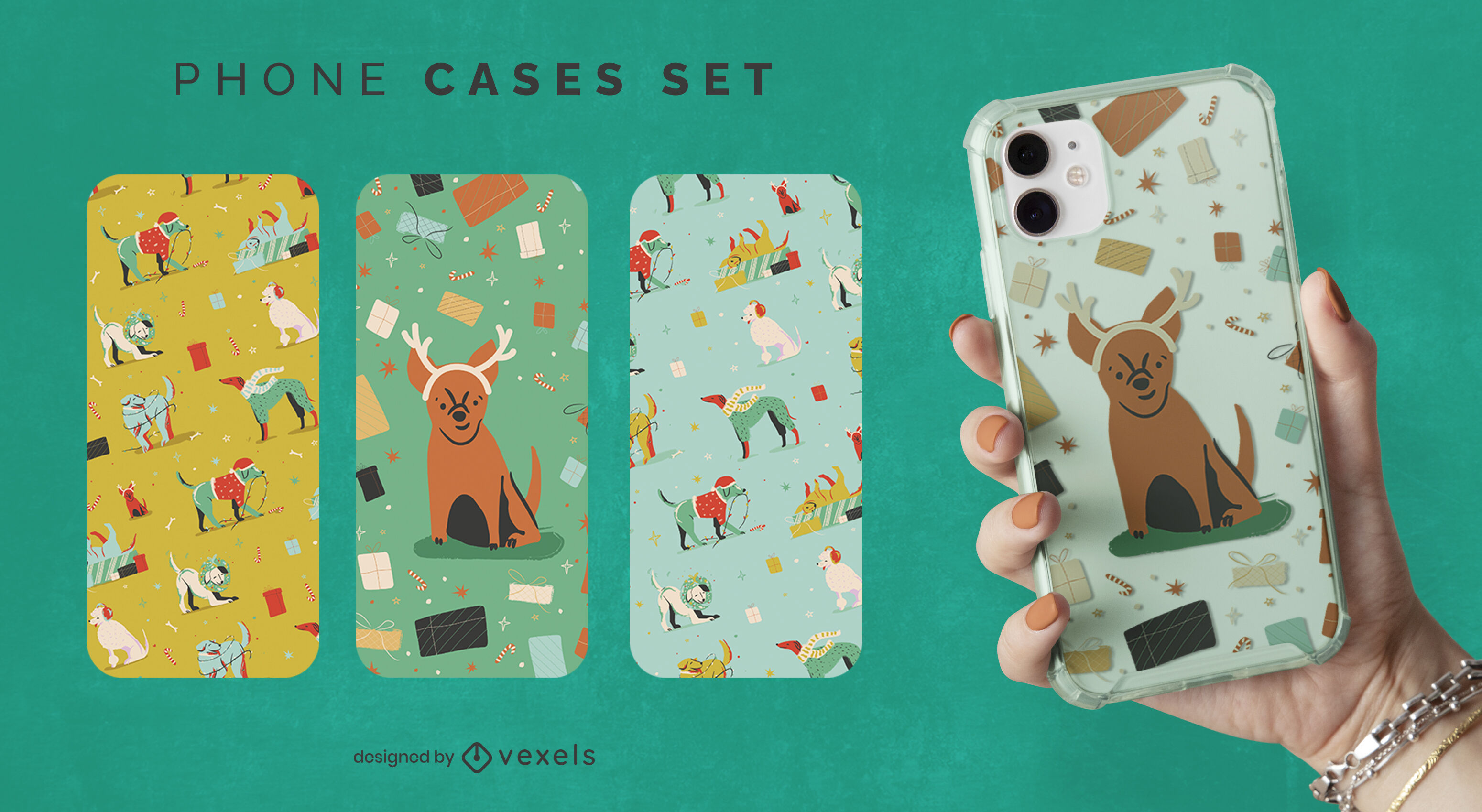 Conjunto de capa de celular para animais de cachorro natalino