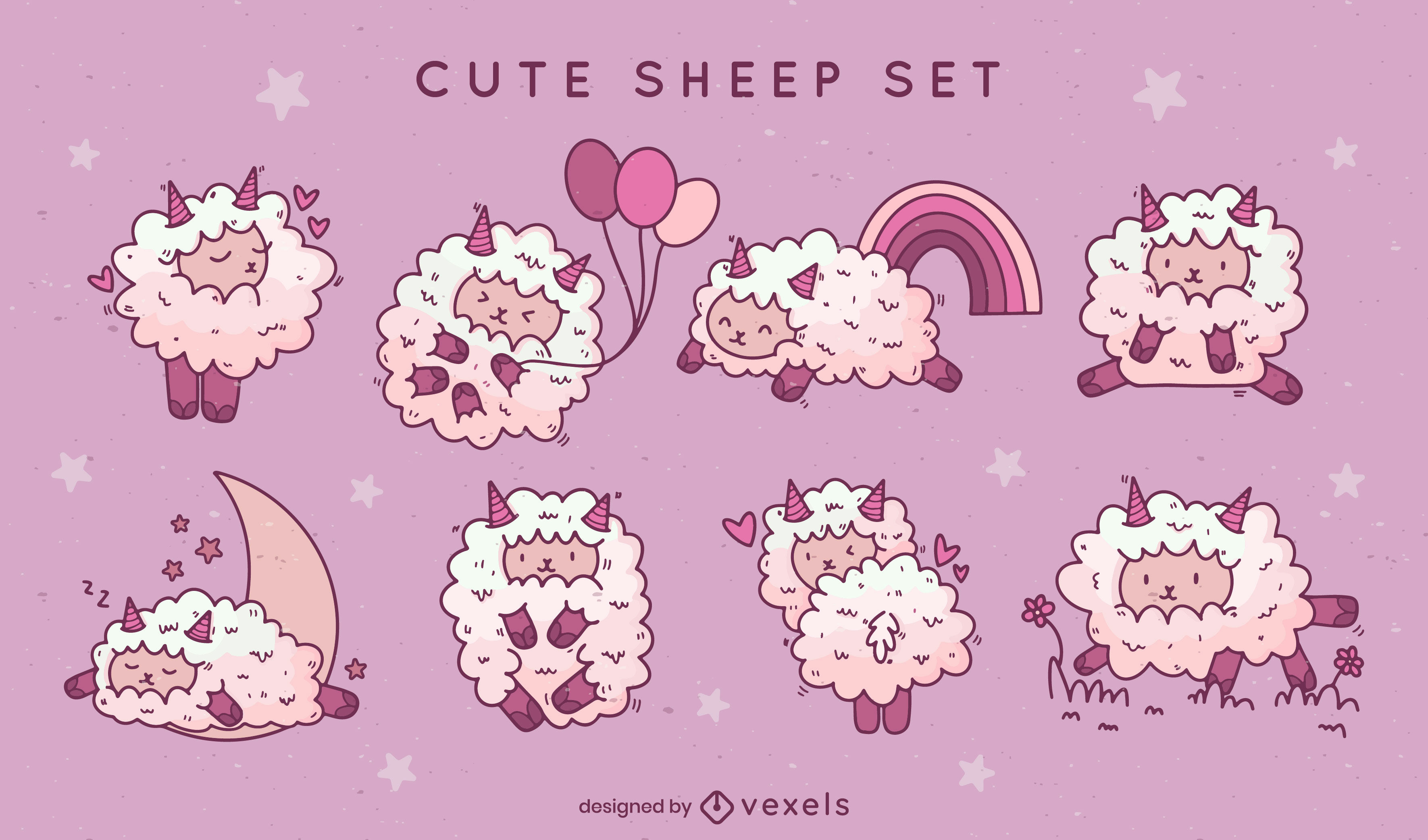 Cute sheep farm animals character set