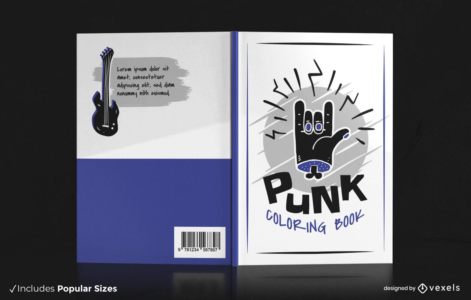 Design de capa de livro de símbolo de mão de música punk