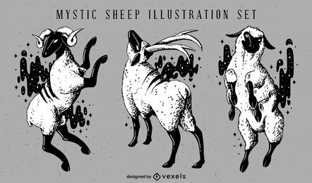 Conjunto de ilustração de animais de ovelhas mágicas